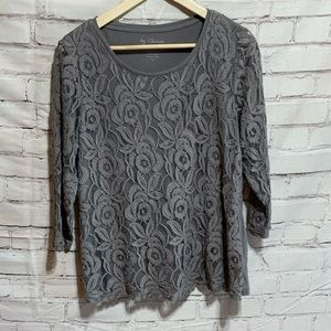 By Chicos Gray Lace Flower Sheer Sleeve Top Size 2 Large